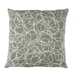 """KEE Design Studio - Coriandoli Pillow, Thunderstorm - """"Coriandoli"""" is an original pattern created by Kee Design Studio, its playful loops dance across a colorful background. Printed on a crisp cotton/linen blend fabric, this 22""""square pillow has a knife-edge finish and an invisible zipper. A full and fluffy 10/90 white goose down insert keeps its shape. Designed, printed, and made with love in the USA!"""