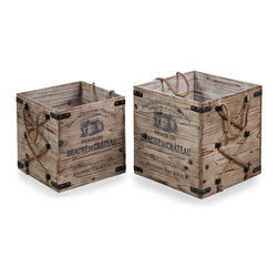 Bouchard, Crates - Set of 2 - Wrought iron straps reinforcing the corners of the Bouchard Crates complement the dark color of the intricate illustrations on the walls, which compete for dominance with the natural wood grain to produce a romantic imported effect that's perfect in transitional rooms.  Hemp rope handles drape over the walls of boxes that work well as log baskets, planters, or simply decorative containers.