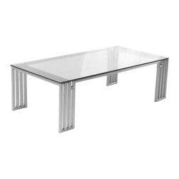 Pangea Home - Glen Coffee Table - Sleek high polished metal coffee table with tempered glass. Features: -High polished metal with tempered glass top.-Finish: Clear.-Glen collection.-Collection: Glen.-Style: Modern.-Top Finish: Tempered Glass.-Base Finish: High Polished Metal.-Distressed: No.-Powder Coated Finish: No.-Gloss Finish: No.-Wrought Iron: No.-Top Material: Glass.-Base Material: High Polished Metal.-Base Type: Legs.-Solid Wood Construction: No.-Reclaimed Wood: No.-Design: Table.-Drop Leaf: No.-Shape: Rectangle.-Lift Top: No.-Tray Top: No.-Storage Under Tabletop: No.-Folding: No.-Magazine Rack: No.-Built In Clock: No.-Powered: No.-Nested Stools Included: No.-Legs Included: Yes -Number of Legs: 4..-Casters: No.-Exterior Shelves: No.-Cabinets Included: No.-Drawers Included: No.-Corner Block: No.-Adjustable Height: No.-Glass Component: Yes -Tempered Glass: Yes.-Beveled Glass: No.-Frosted Glass: No..-Upholstered: No.-Outdoor Use: No.-Swatch Available: No.-Commercial Use: Yes.-Recycled Content: No.-Eco-Friendly: No.-Product Care: Wipe with damp cloth.Dimensions: -Overall Height - Top to Bottom: 15.-Overall Width - Side to Side: 47.-Overall Depth - Front to Back: 24.-Width When Fully Extended: No.-Table Top Width - Side to Side: 47.-Table Top Depth - Front to Back: 24.-Legs: Yes.-Overall Product Weight: 65.Assembly: -Assembly Required: Yes.-Additional Parts Required: No.
