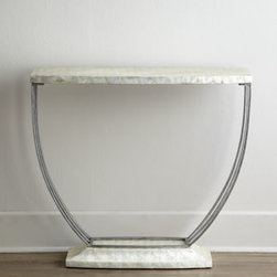 "Ambella - Ambella ""Watershine"" Console - Against a wall, behind a sofa, in the middle of the room—wherever you place it, this striking console commands attention as it provides stunning display space. Handcrafted of steel and capiz shell. Burnished-silver finish. Finished on all sides...."