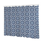 Uneekee - Uneekee Veracruz Blue Shower Curtain - Your shower will start singing to you and thanking you for such a glorious burst of design as you start your day!  Full printing on the front and white on the back.  Buttonhole openings for shower rings.