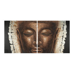 Safavieh - Buddha Painting ART2005A - Achieve an instant state of chic with this contemporary two-dimensional Buddha painting on canvas on wood. Heavy brushstrokes create dramatic texture perfect for any cosmopolitan lifestyle. Set of 2.