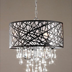 Indoor 4-light Chrome Antique Bronze Chandelier - I love the artistic work in this chrome and bronze chandelier. I would like to have this in a dining room.