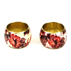 MarktSq - Pink Floral Napkin Ring (Set Of 4) - These delightful napkin ring is guaranteed to brighten up your table setting. These napkin napkin rings are unique and made exclusively for us. Sold as a set of 4.