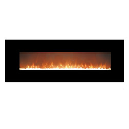 Moda Flame - Skyline Crystal Linear Wall-Mounted Electric Fireplace - The Skyline beautifully designed sleek electric wall mounted fireplace with crystal effect will look stunning anywhere you want intimate ambiance and warmth. The captivating crystals of the Skyline electric fireplace will bring style and comfort that will make everyone feel like they are at home. It offers 3 easy settings of low and high heat or flame effect only. The Skyline easily heats a room of 400 sq. ft without the mess of wood fireplaces or the smell of gas fireplaces.