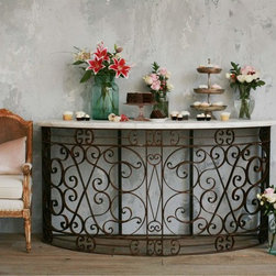Eloquence - Eloquence Iron Balcony Console Table - Amazing reproduction iron console with new Carrere marble top. Fabulous for home or garden - beautiful scrolling details! 10 deep before curve begins.