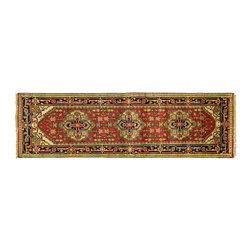 Manhattan Rugs - Red Heriz With Navy Blue Border Hand Knotted Wool 3' X 8' Serapi Area Rug H5190 - Heriz (Herez, Serapi)