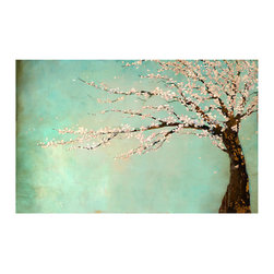 Windy Day Giclee Marble Glaze Finish - Fragile petals flying swiftly and silently in spring air, lifted aloft by the fleeting breeze, are rendered in effortless beauty in the giclee Windy Day. The gentle coloration of peach-hued blossoms blends softly with the gentle blue-green background that accentuates the rich, warm tones of the elegant tree branches. A beautiful seasonal homage to the arrival of spring or a year-round reminder of glorious days to come.