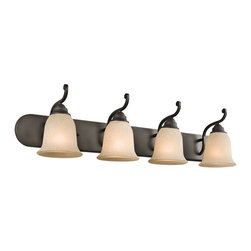 Kichler Lighting - Kichler Lighting Camerena Traditional Bathroom / Vanity Light X-ZO42454 - With its gorgeous bowl-shaped glass uplight and gently curled metal accents, the distinct Camerena&trade: collection illuminates any room with enduring warmth and comfort. This 4 light wall fixture features an Olde Bronze finish and White Scavo glass with Light Umber inside tint to convey a distinct old world aura in any space. May be installed with glass up or down.