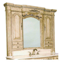 Ambella Home - Monticello Lighted Hutch - Finished in antique white parchment with silver highlights, this lighted hutch features left and right storage. Dimensions: 64 in. x 8.5 in. x 51.5 in.