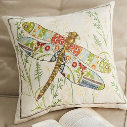 "Anna Marie Dragonfly Outdoor Canvas Pillow, 20"" sq. - Symbolizing summer, a slender dragonfly with outstretched wings is beautifully poised on our pillow. Detailed with intricate embroidery, the design has a soft, sculptural effect. 20"" square Woven of soft, water-repellent polyester. Reverses to solid ivory. Spot clean. Imported. Internet Only."
