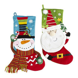 Whimsy Stockings - I love the 3-D effect of these stockings. The bright colors and fun details make for a great holiday!
