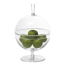 Having a Ball Covered Bowl - 14 x 10 - A perky, easy-to-style design that keeps contents free from dust while displaying them from every angle, the Having a Ball Covered Bowl makes an ideal terrarium, seasonal centerpiece, or nut dish. Made from clear glass and equipped with an Asian-inspired tall knob that coordinates with its stem, this covered dish is constructed for stability but has a pert, floating appearance.
