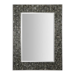 Black and Ivory Glass Tiles Mirror - Black and Ivory Glass Tiles Mirror