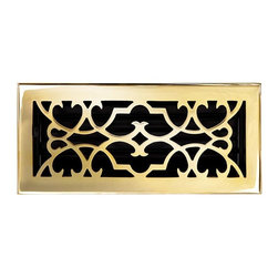 """Brass Elegans 120D PLB Brass Decorative Floor Register Vent Cover - Victorian Sc - This polished brass finish solid brass floor register heat vent cover with a victorian scroll design fits 4"""" x 10"""" x 2"""" duct openings and adds the perfect accent to your home decor."""