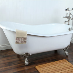 Vintage Slipper Cast-Iron Claw-Foot Tub with 7-Inch Drillings - This is just my style. I like the silver feet and the high-rise back, so you can really soak in this tub.