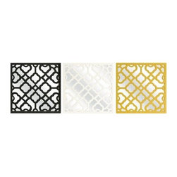 Prinstly Wall Mirrors - Set of 3 - Create the ultimate focal point in any room with the Prinstly Wall Mirrors - Set of 3. A classic color combination of black, white, and yellow gives a unique and understated pop of color. These pretty little mirrors are covered with a delicately carved design that's full of color, style, and shine.About IMAXWhat began as a small company importing copper flower containers in 1984 by Al and Faye Bulak has developed into one of the top U.S. import companies serving the At Home market today. IMAX now provides home and garden accessories imported from twelve countries around the world, housed in a 500,000 square foot distribution center. Additional sourcing, product development and showroom facilities in the USA, India and China make IMAX a true global source. They're dedicated to providing products designed to meet your needs. This is achieved through a design and product development team that pushes creativity, taste and fashion trends - layering styles, periods, textures, and regions of the world - to create a visually delightful and meaningful environment. At IMAX, they believe style, integrity, and great design can make living easier.