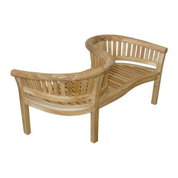 """Anderson Teak - Curve Love Seat 59""""W 28""""D 32""""H - This beautiful """"curve bench styling"""" is so artistic and unique that has been designed for house or backyard with a lot of curve pattern, the bench will never go out of style, but quietly blends with any d_cor. We have made subtle but careful design changes to ensure excellent back support. Place a single bench under your trees; use a group of benches and chairs for entertaining. Quality built for generations. Cushion is optional and is being made by order. 59""""W 28""""D 32""""H"""