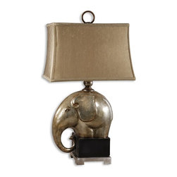 Uttermost - Abayomi  ElephantTable Lamp - Antiqued champagne finish over crackled porcelain with an aged black base and brushed aluminum accents