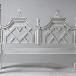 Palm Beach Regency - Chinoiserie Pagoda Four Poster Bed . Lacquered White Gloss or Custom Color.