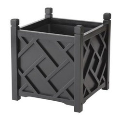 DMC 14-inch Square Black Chippendale Planter - Chinese Chippendale planters in black make for a very elegant addition to your outdoors.