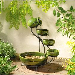 Outdoor Classics - Green Ceramic Solar Cascade Fountain -