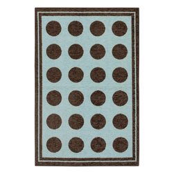 Mohawk Home - Mohawk Woodgrain Fluffy Light Blue Modern Dots 3'4 x 5' Rug (11205) - An aqua blue background with a brown boarder and coordinating polka dots highlight this whimsical Mohawk Home rug. This rug is constructed of soft, durable nylon fibers.  Printed on the same machines that manufacture one of the world