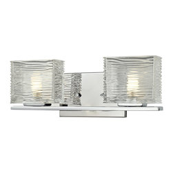 Z-Lite - Z-Lite Jaol 2 Light Vanity Light X-V2-5203 - Rectangular glass shades with horizontal textured lines soften the bright light of the Jaol vanity family. The flat arm design exudes a contemporary design finished in finely brushed nickel, rich bronze and highly polished chrome.