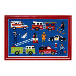 """Fun Rugs - Heroes Olive Kids Collection Rug - 39"""" x 58"""" - This colorful rug has heroes design Collection Name: Olive Kids; 100% Nylon Dimensions: 39"""" x 58"""""""