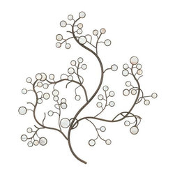 Home Decorators Collection - Capiz Shell Metal Wall Art - The Capiz Shell Metal Wall Art showcases a contemporary design of branches and topped with circular leaves. The leaves contain a shell-finished glass that will catch the light in your home for a beautiful effect. Place your order now.Quality-crafted of metal.Adds a unique touch to any room.