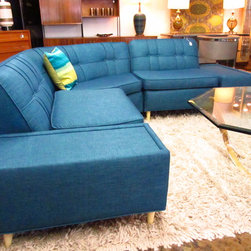 sectionals - Awesome 1950s 3-piece sectional with unusual piping detail as well as button tufting.  Reupholstered, restored.