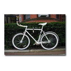Boston Bike - Canvas, 24x16x3 - Was in Boston on a photo assignment for a hi-tech firm. Nothing contrived here…just a bike outside a Boston brownstone. What makes it appealing of course is the All-White bike. Just unusual enough to make an interesting picture.