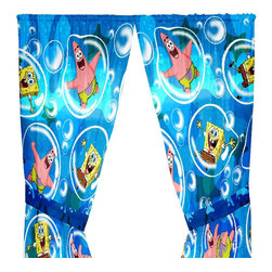 Franco Manufacturing - Spongebob Squarepants Curtains Playful Bubble Drapery Panels - Features: