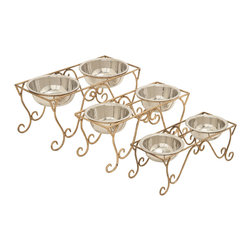 Rich and Distinctive Metal Dog Feeder, Set of 3 - Description: