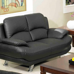 AC Pacific - Alice Loveseat - This contemporary Leather Sofa has leather everywhere your body touches. With chrome finish legs for that extra look of class. . Material: Leather. Color/Finish: Black. 61 in. L x 39 in. W x 35 in. H