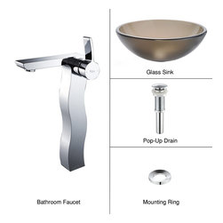 Kraus - Kraus C-GV-103FR-12mm-14600CH Frosted Brown Glass Vessel Sink and Sonus Faucet - Add a touch of elegance to your bathroom with a glass sink combo from Kraus