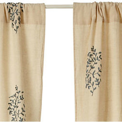 Divine Designs - Lara Embroidered Curtain Panel- Gray - This curtain panel will add a vibrant and sleek style to your living room. Sold as one panel.