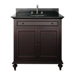 """Avanity - MERLOT 30"""" Vanity Only (Espresso) - MERLOT 30"""" Vanity Only (Espresso); Vanity only in Espresso finish; 2 doors; 1 drawer; Birch solid wood and veneer; Antique brass finished hardware; 2 soft-close doors; 1 interior Soft-close drawer; Adjustable height levelers; Top, sink and faucet not included.; Dimensions: 30W x 21D x 34H inches"""