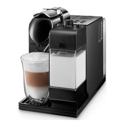 DeLonghi - Lattissima Capsule Espresso/Cappuccino Machine - The DeLonghi EN520BK Nespresso Lattissima Capsule Espresso/Cappuccino Machine, in black, allows you to choose your favorite drink (cappuccino, latte macchiato, Espresso-Coffee, long coffee or hot milk) in a simple intuitive way with illuminated controls. No more mess or measuring with this easy-to-Use coffee capsule system. Simply load the capsule into the machine and push the button. Nespresso's patented extraction system facilitates the ideal flow of water through the ground coffee and the capsules are automatically ejected into a holding tank after the brew is completed. The patented IFD system includes a milk container for cappuccino or latte macchiato. The amounts of Frothed/Steamed milk and coffee are adjustable. It also includes a unique automatic cleaning function with the easy push of a button. The entire container is detachable, so it can easily be placed in the refrigerator. A convenient welcome kit with nespresso capsules is included. Easy-to-Use coffee capsule System - Simply load the capsule into the machine and push the button.