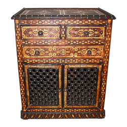 Badia Design Inc. - Moroccan  Carved Wooden Cabinet - This is a beautifully designed Moroccan Carved Wooden Cabinet with three drawers on the top and two Moucharabieh doors on the bottom. This Moroccan wooden cabinet will be a good fit for just about any room in your home or business.