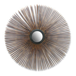 Kathy Kuo Home - Dandelion Bamboo Global Bazaar Sunburst Wall Mirror - The bamboo spokes emanating from the circular mirror at the center of this wall hanging resemble long, elegant porcupine quills. Dark and light brown marbled poles create an exciting, intriguing artwork, perfect to enlarge a hallway or enliven any room.