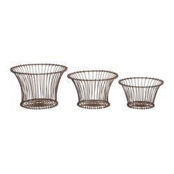 Aidan Gray - Aidan Gray 3Piece Rusted Garden Baskets Set of 3 G136 SET - Aidan Gray Rusted Garden Baskets Set of 3 G136 SET.