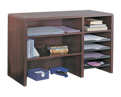 """Safco - Safco 29""""W Compact Desk Top Organizer - Safco - Desktop Organizers - 3692MH - This compact multi-shelf desk top organizer can create order out of a constantly cluttered desktop. Includes two 17""""W x 11-1/2""""D shelves and literature sorter with fixed letter-size shelf three plastic slide-out trays for easy access to contents plus a pullout organizer tray. Organizer tray features a built-in tape dispenser Post-It notes compartment two front bins for small supplies plus two pencil trays. Cord cutout in back panel."""