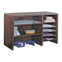 "Safco - Safco 29""W Compact Desk Top Organizer - Safco - Desktop Organizers - 3692MH - This compact multi-shelf desk top organizer can create order out of a constantly cluttered desktop. Includes two 17""W x 11-1/2""D shelves and literature sorter with fixed letter-size shelf three plastic slide-out trays for easy access to contents plus a pullout organizer tray. Organizer tray features a built-in tape dispenser Post-It notes compartment two front bins for small supplies plus two pencil trays. Cord cutout in back panel."