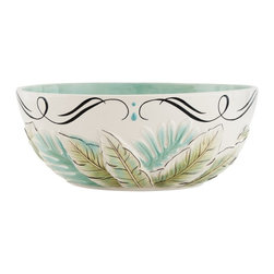 Fitz and Floyd - Fitz and Floyd 29-509 Cockatoo Serving Bowl - 29-509 - Shop for Bowls and Candy Dishes from Hayneedle.com! Serve up delicious snacks in tropical style with the Fitz and Floyd 29-509 Cockatoo Serving Bowl. The blue and green fern theme perfectly coordinates with the rest of the Cockatoo set (sold separately). Durable earthenware construction ensures years of beauty while the traditional oval shape is perfect for serving everything from snack mix to mashed potatoes.About Fitz and FloydFitz and Floyd is recognized worldwide as a leader amongst the style- and quality-conscious. For 50 years their unique designs have made them the leader in the purveyor of hand-painted ceramic dinnerware tableware accessories giftware and collectibles. All Fitz and Floyd pieces are easy to spot. Each piece is distinctively hand-crafted by artisans from the drawing board to the sculpting wheel and kiln.The company's Dallas-based studios are renowned for producing over 500 unique designs per year. Creations range from presidential dinnerware for the White House or a tea service for Her Majesty Queen Elizabeth II to the perfect centerpiece for your table and each design is lovingly crafted in the highest quality. Meticulous craftsmanship and exquisite detail make every Fitz and Floyd piece a treasured heirloom-quality gift.