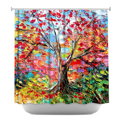 DiaNoche Designs - Shower Curtain Artistic - Story of the Tree 59 - DiaNoche Designs works with artists from around the world to bring unique, artistic products to decorate all aspects of your home.  Our designer Shower Curtains will be the talk of every guest to visit your bathroom!  Our Shower Curtains have Sewn reinforced holes for curtain rings, Shower Curtain Rings Not Included.  Dye Sublimation printing adheres the ink to the material for long life and durability. Machine Wash upon arrival for maximum softness on cold and dry low.  Printed in USA.