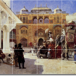 Picture-Tiles, LLC - Arrival Of Prince Humbert The Rajah At The Palace Of Amber Tile By Edw - * MURAL SIZE: 24x32 inch tile mural using (12) 8x8 ceramic tiles-satin finish.