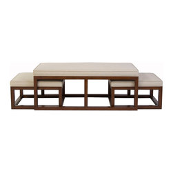 Kathy Kuo Home - Chatham Brown Coffee Table Ottoman with Stools - Natural Linen - Welcome to the stylish place where a modern ottoman meets a nesting coffee table.  This coffee toned group offers functional seating and a simple elegance that brings people - and rooms - together with an easy style that is perfect for contemporary spaces of every stripe.
