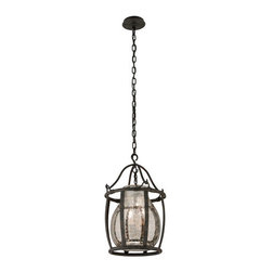 Troy - Chianti Bronze Three-Light Medium Pendant with Antique Silver Glass - - Chianti 3 Light Ceiling Mount Chandelier. Chianti Bronze Finish with Antique Silver Glass.  - Made from Hand-Forged Iron.  - Incandescent  - Bulb Not Included Troy - F3595