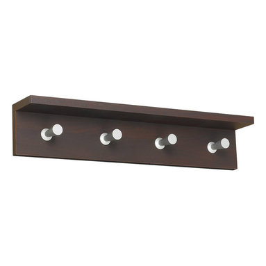 Safco - Safco Contempo Wood 4 Hook Wall Coat Rack in Mahogany - Safco - Coat Racks - 4221MH - An updated design that adds style and functionality to your office or reception area. This wood-based coat rack includes an integrated shelf to hold your personal items (compact umbrella sunglass cell phone and more). The satin aluminum hooks are conical shaped to protect your garments yet offer a distinctive touch.